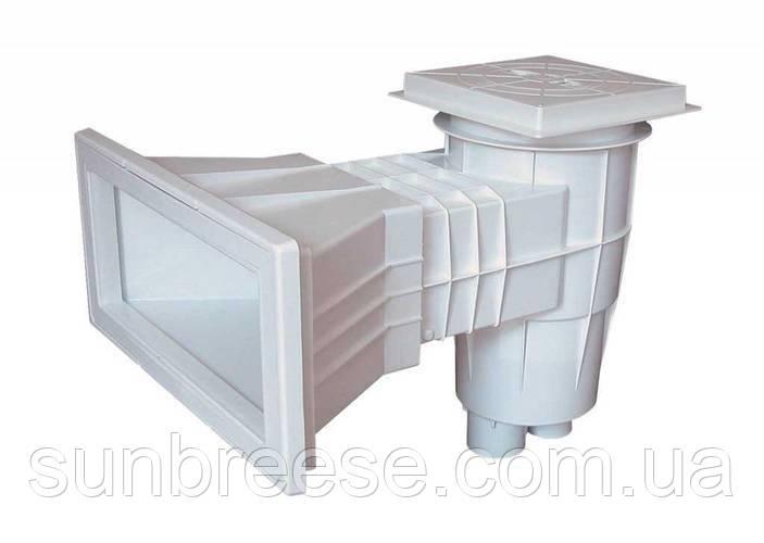 Скиммер широкий под бетон с квадратной крышкой