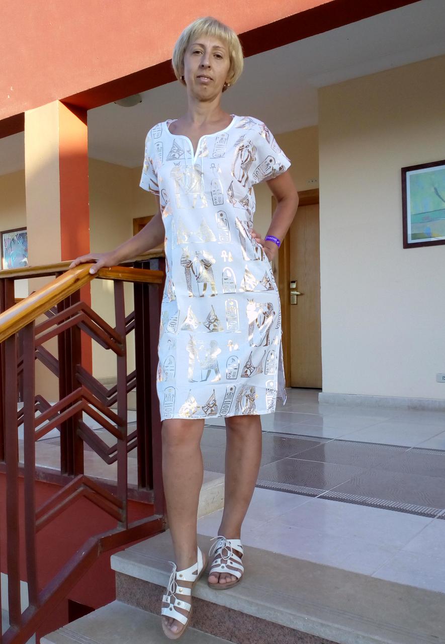Туника с принтом Египет белая (38 размер размер XS )