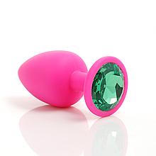 Анальная пробка силиконовая для эротических игр для взрослых с кристаллом (зеленый)