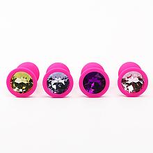 Анальная пробка силиконовая для эротических игр для взрослых с кристаллом (сиреневый)