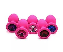 Анальна пробка силіконова для еротичних ігор для дорослих з кристалом (бірюзовий)
