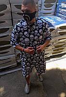 Oversize костюм с черепами футболка+шорты стильный модный яркий крутой хайп