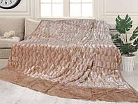 Плед-покрывало Норка светло коричневого цвета на большую евро кровать размер 220х240