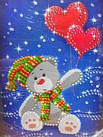 Картина из пайеток Мишка с шариками-сердцем