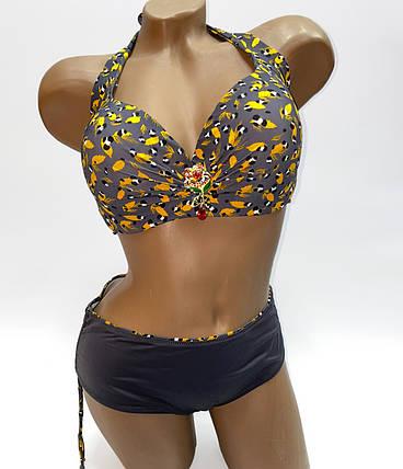 Жіночий купальник для повної грудей Sisianna 55920 сірий на 50 54 розмір, фото 2