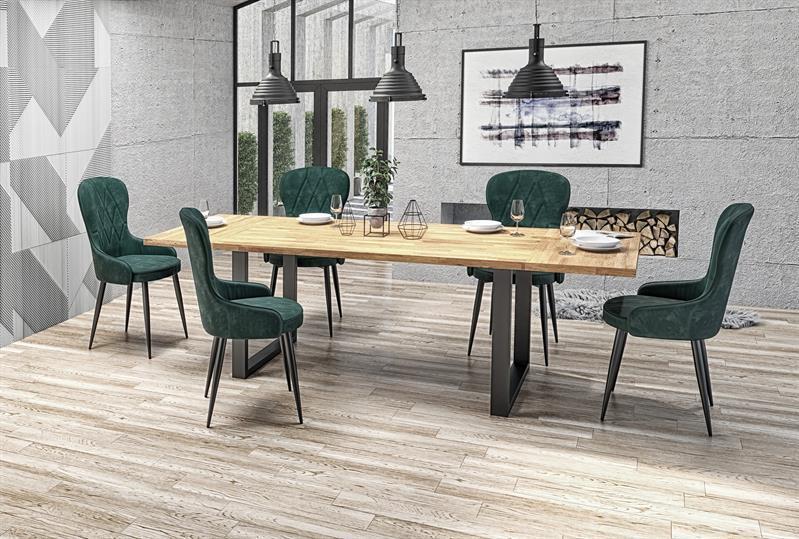 Стіл кухонний дерев'яний обідній на кухню кухонна RADUS колір дуб/чорний 140x85 (Halmar)