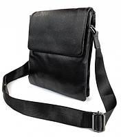 Мужская кожаная сумка через плечо черная / Барсетка Месенджер из натуральной кожи