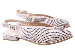 Туфли женские летние на низком ходу из натуральной кожи, капучиновые Aquamarin Турция