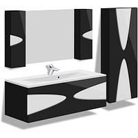 Комплект навесной в ванную комнату MARANELLO черный 90см(тумба+зеркало+пенал)