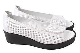 Туфли женские летние на платформе из натуральной кожи, белые Aquamarin Турция