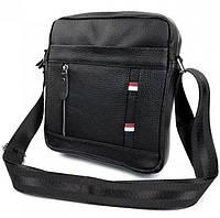 Мужская кожаная сумка через плечо Borsa Leather K69a Черная мессенджер - барсетка