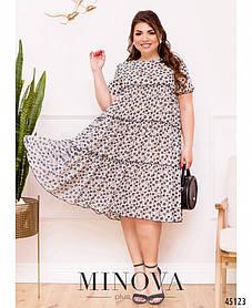 Красивое шифоновое летнее платье мелким рисунком  Большие размеры 50 52 54 56 58 60 62 64