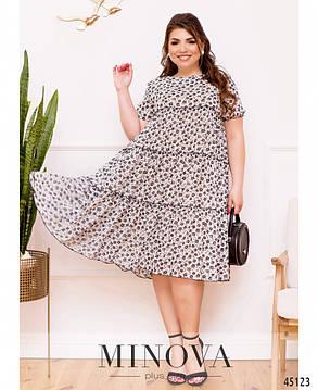 Красивое шифоновое летнее платье мелким рисунком  Большие размеры 50 52 54 56 58 60 62 64, фото 2