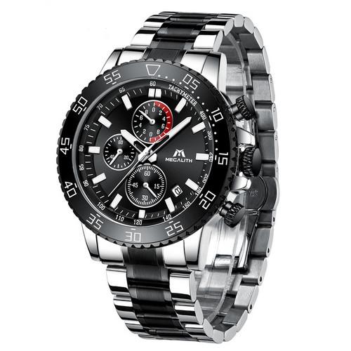 Часы мужские Megalith 8087M Black-Silver