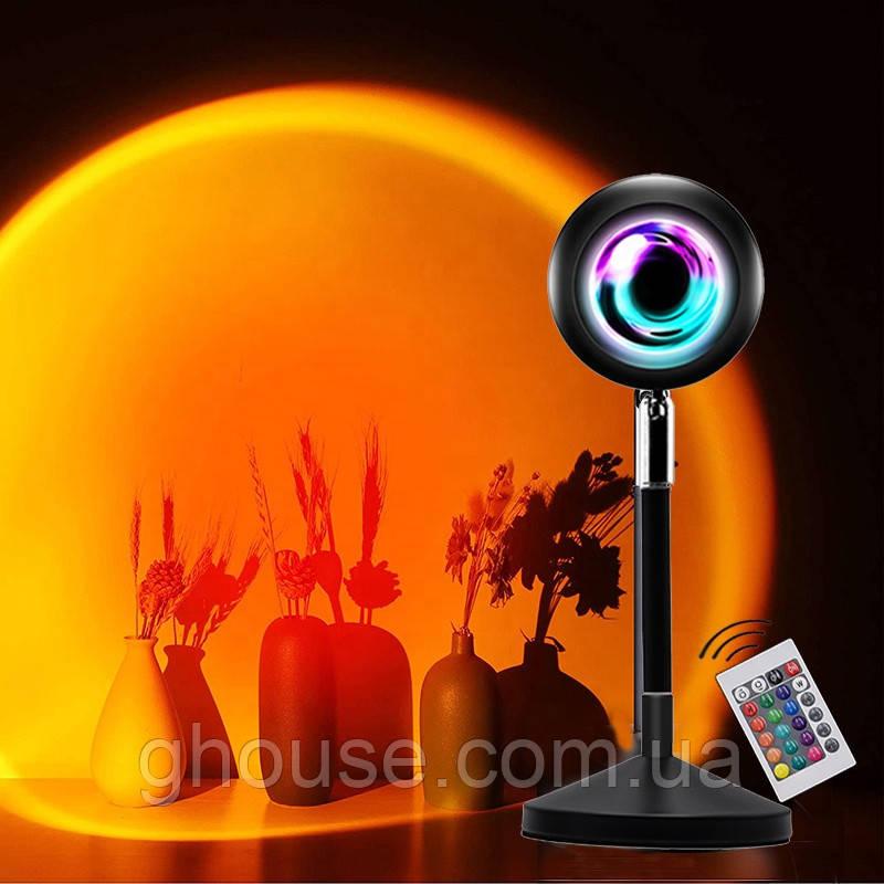 Sunset Lamp RGB з пультом - проекційний світильник заходу, світанку, usb led - Чорний
