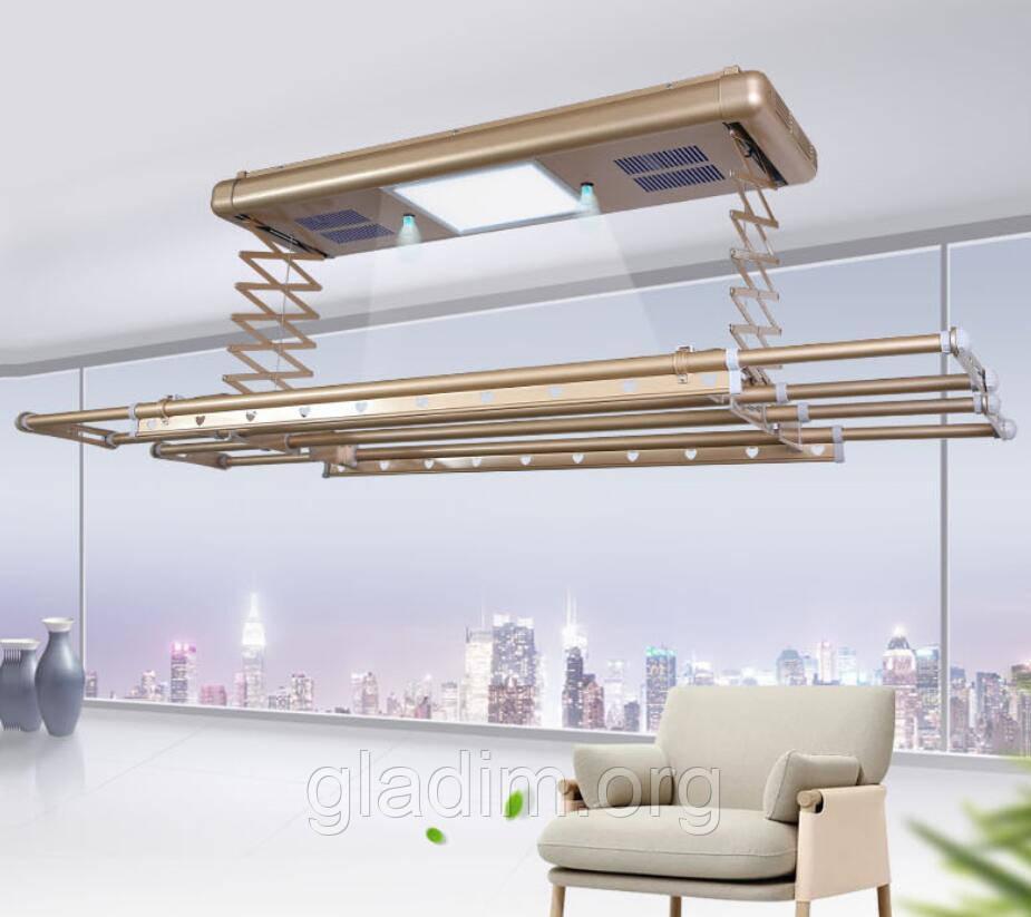 Сушка для белья и одежды с пультом управления потолочная LETON 110S Gold
