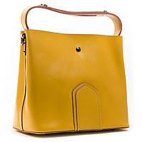 Стильная  женская сумка желтого цвета А. Rai сумочка из натуральной кожи на каждый день, вместительная, фото 1