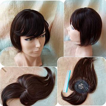 """Накладка с челкой из натуральных волос на макушку MUSI Q10""""-2"""
