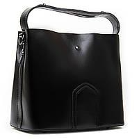 Стильна жіноча сумка чорного кольору А. Rai сумочка з натуральної шкіри на кожен день, містка, фото 1