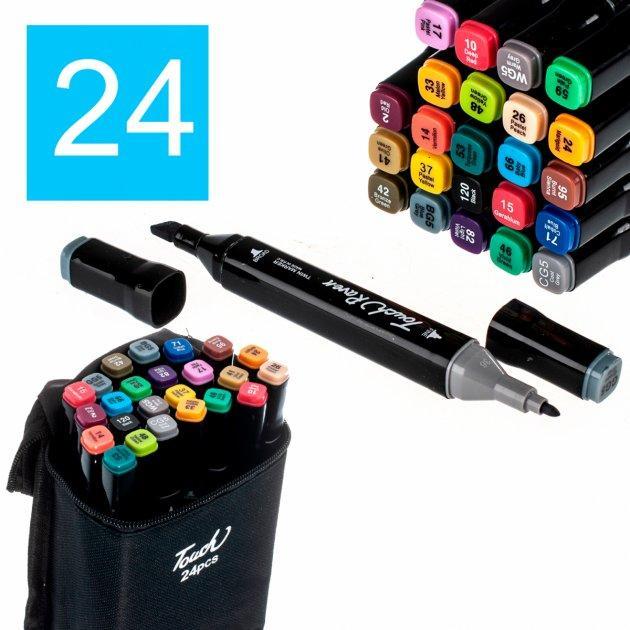 Набор двухсторонних маркеров 24 шт TouchRaven для скетчинга на спиртовой основе, фломастеры