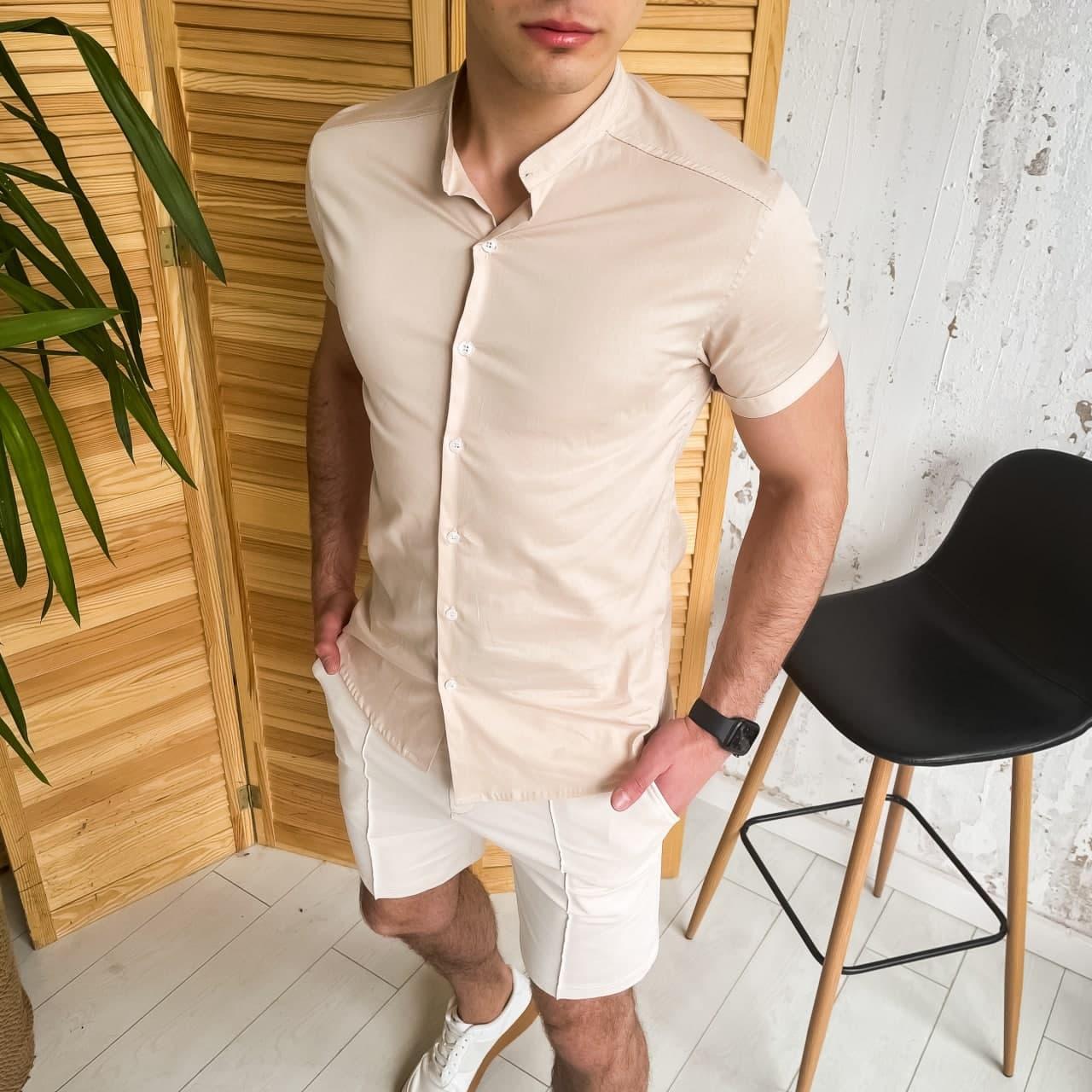 "🔥 Мужская летняя рубашка Pobedov ""Solid"" светло-бежевая"