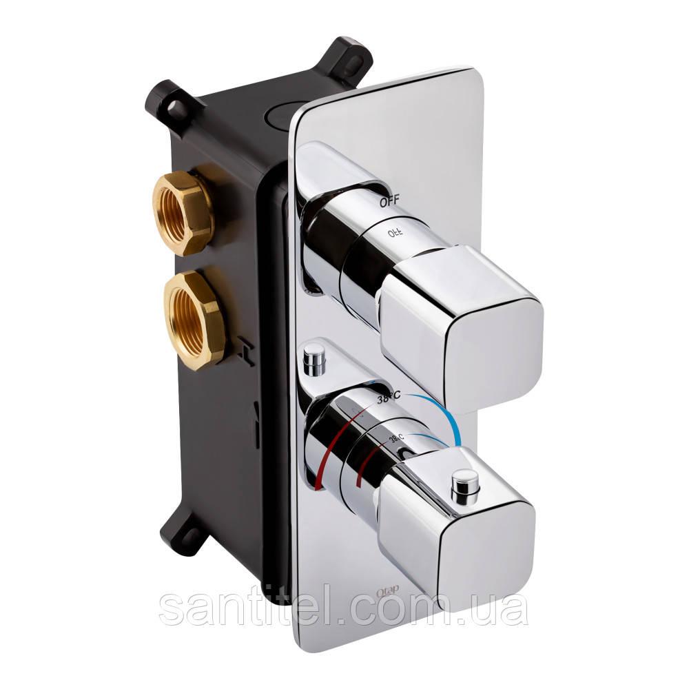 Смеситель термостатический скрытого монтажа для душа Qtap Votice 65T105NGC на три потребителя