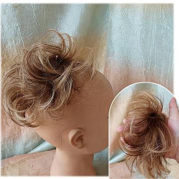 Резинка шиньон из натуральных волос русый микс SEGA- 4Р27