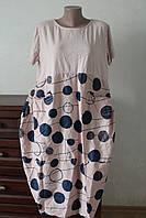 Платье женское кружочки с карманами спереди