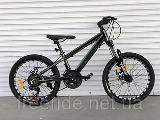 """Детский алюминиевый велосипед Toprider """"680"""" 20 (12) Shimano хаки"""