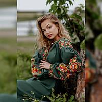 """Длинное женское платье вышиванка """"Петриковская роспись"""" из льна длинный рукав под заказ зеленый"""
