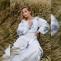 """Длинное женское платье вышиванка """"Петриковская роспись"""" из льна длинный рукав под заказ белый, фото 1"""