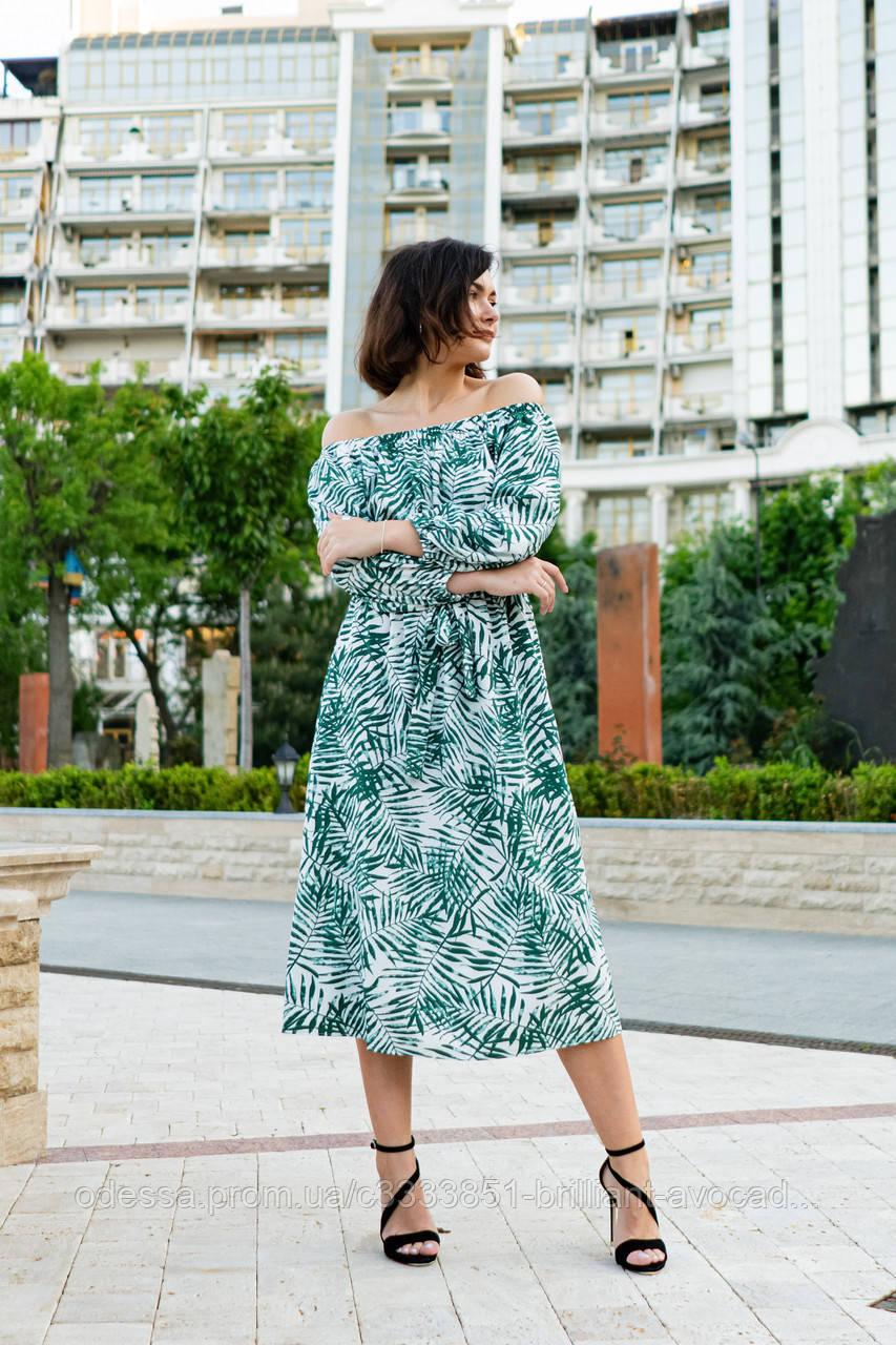 Жіноче літнє довге красиве плаття з відкритими плечима (42,44,46,48 )