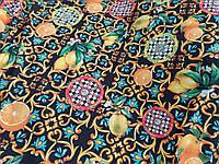 Креп шовк софт Майоліка лимон чорний колір, тканину для одягу