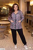 Спортивний костюм жіночий зручний з подовженою курткою паркою великих розмірів 48-66 арт. 3460