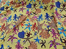 Креп шовк софт Морське дно жовтий колір тканину для одягу