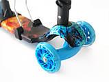 Дитячий триколісний самокат беговел з батьківською ручкою Scooter Smart 3 в 1 Вогонь і лід, фото 2
