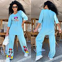 Молодіжний спортивний костюм жіночий з міккі штани з футболкою великі розміри 48-54 арт. 519