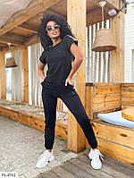 Летный прогулочный костюм женский в спортивном стиле штаны с футболкой большие размеры 48-54 арт. 515