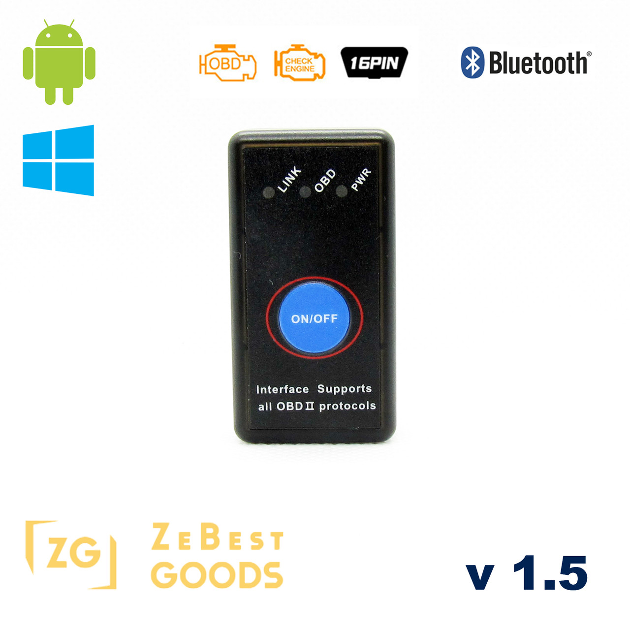 Автосканер ELM327 OBD2 версія 1.5 Bluetooth 2.0 чіп PIC18F25K80 Android/Windows з кнопкою ON/OFF