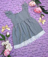 Платье детское в горошек р. 98-116 серое