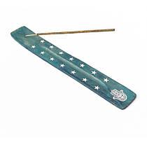 Подставка из дерева для аромапалочек Лыжа синяя, Подставка для благовоний