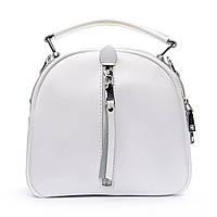 Біла жіноча шкіряна сумка-рюкзак А. Rai з натуральної шкіри на кожен день, компактна, фото 1