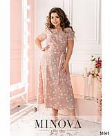 Шикарное нарядное платье большие размеры 50-56 из софта в цветочный принт