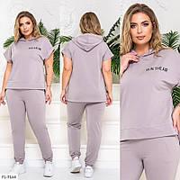 Спортивний костюм жіночий річний зручний кофта з короткими рукавами і капюшоном великі розміри 50-56 арт. 822