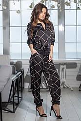 Женский шелковый костюм штаны+кофта