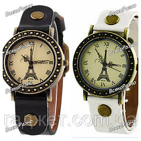 Модные женские часы с изображением Эйфилевой башни и черные или белые.