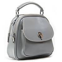 Сіра жіноча шкіряна сумка-рюкзак А. Rai з натуральної шкіри на кожен день, міні рюкзак, фото 1