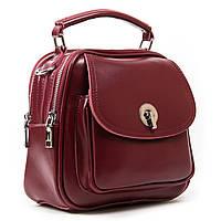 Бордова жіноча шкіряна сумка-рюкзак А. Rai з натуральної шкіри на кожен день, міні рюкзак, фото 1