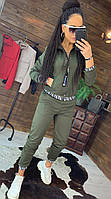 Женский спортивный костюм цвета хаки с мастеркой на молнии и джоггерами с манжетами (р. 42-44) 44msp860R