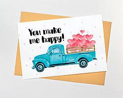 """Поздравительная открытка """"You make me happy"""""""